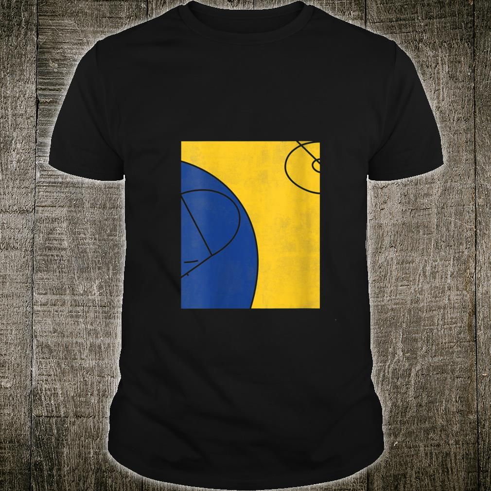 Womens Gold and Blue Abstract Basketball Court Shirt